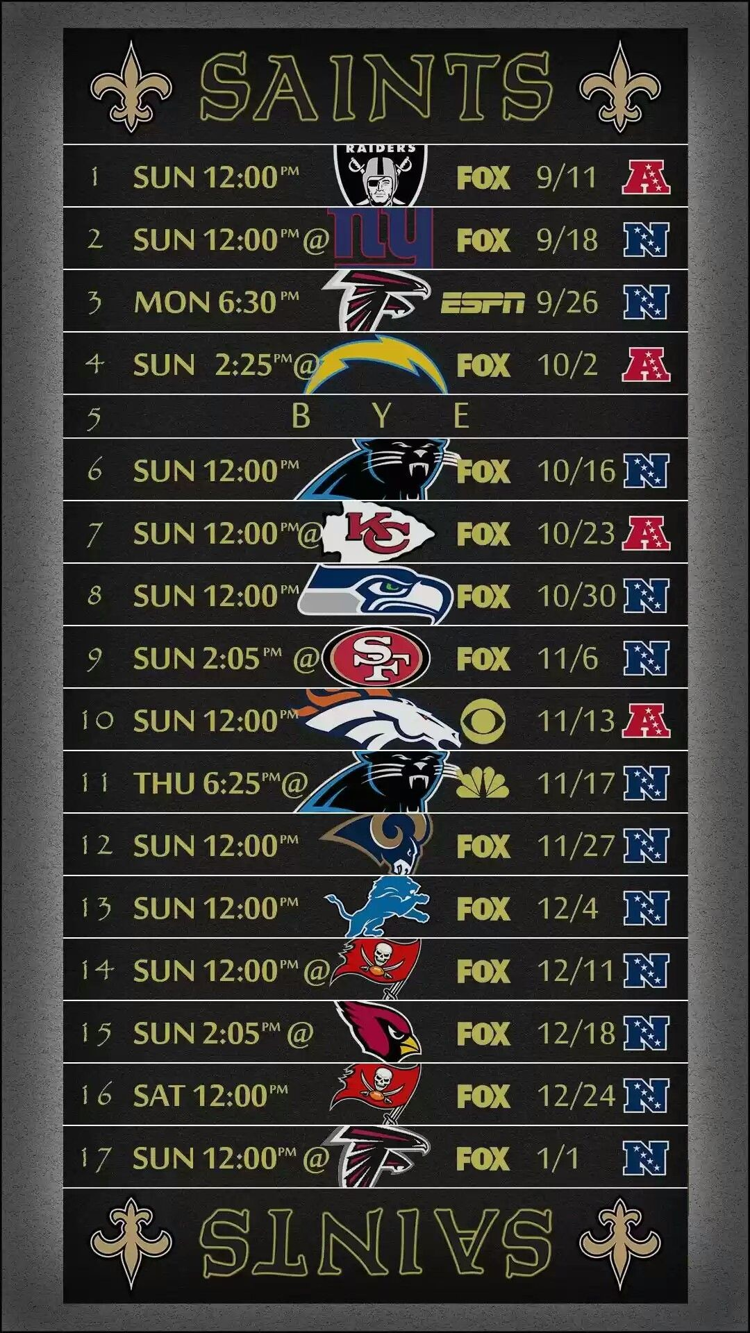 This is a picture of Adaptable Saints Schedule 2020 Printable