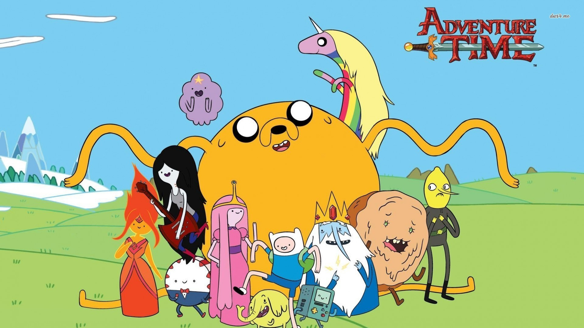 Adventure Time characters on the field wallpaper 1920x1080 .
