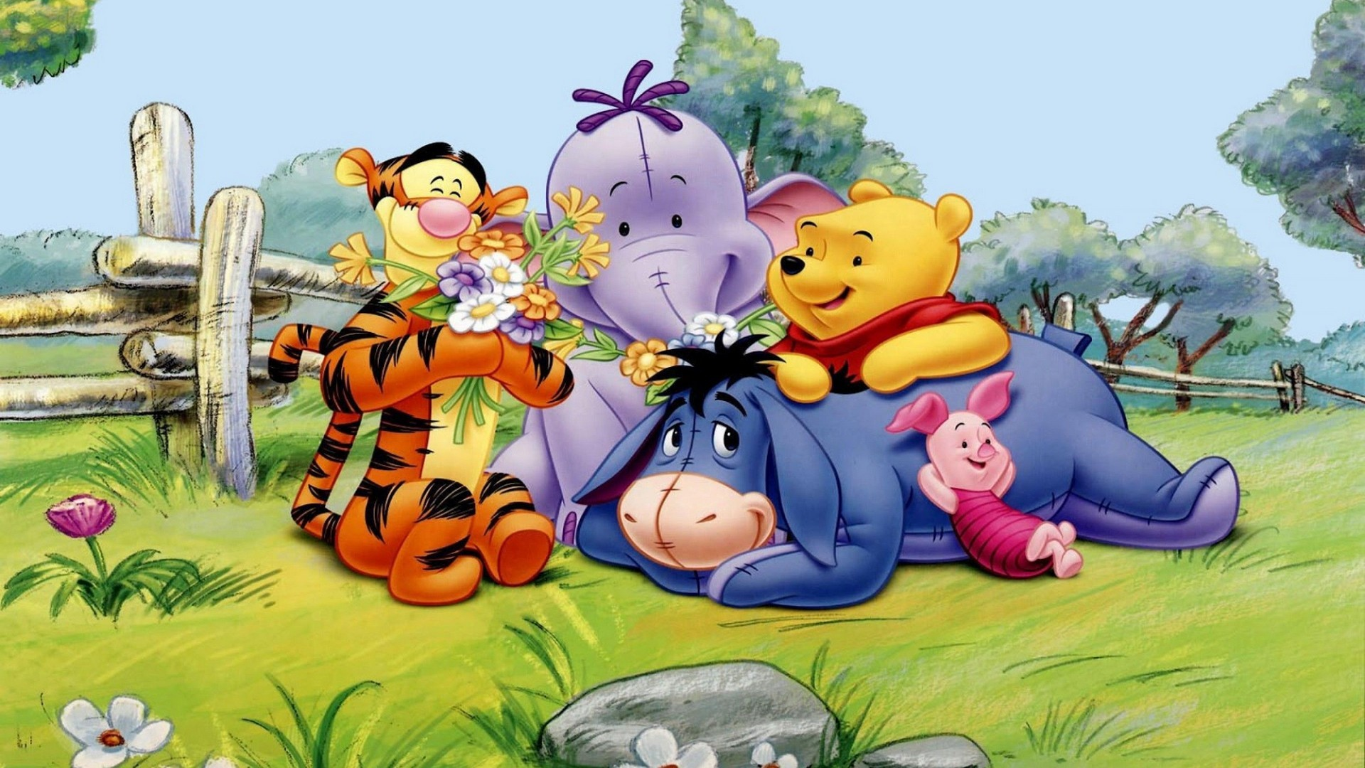 Winnie the pooh desktop wallpapers 76 background pictures 1920x1080 winnie the pooh tigger eeyore piglet and elephant spring hd wallpaper altavistaventures Images