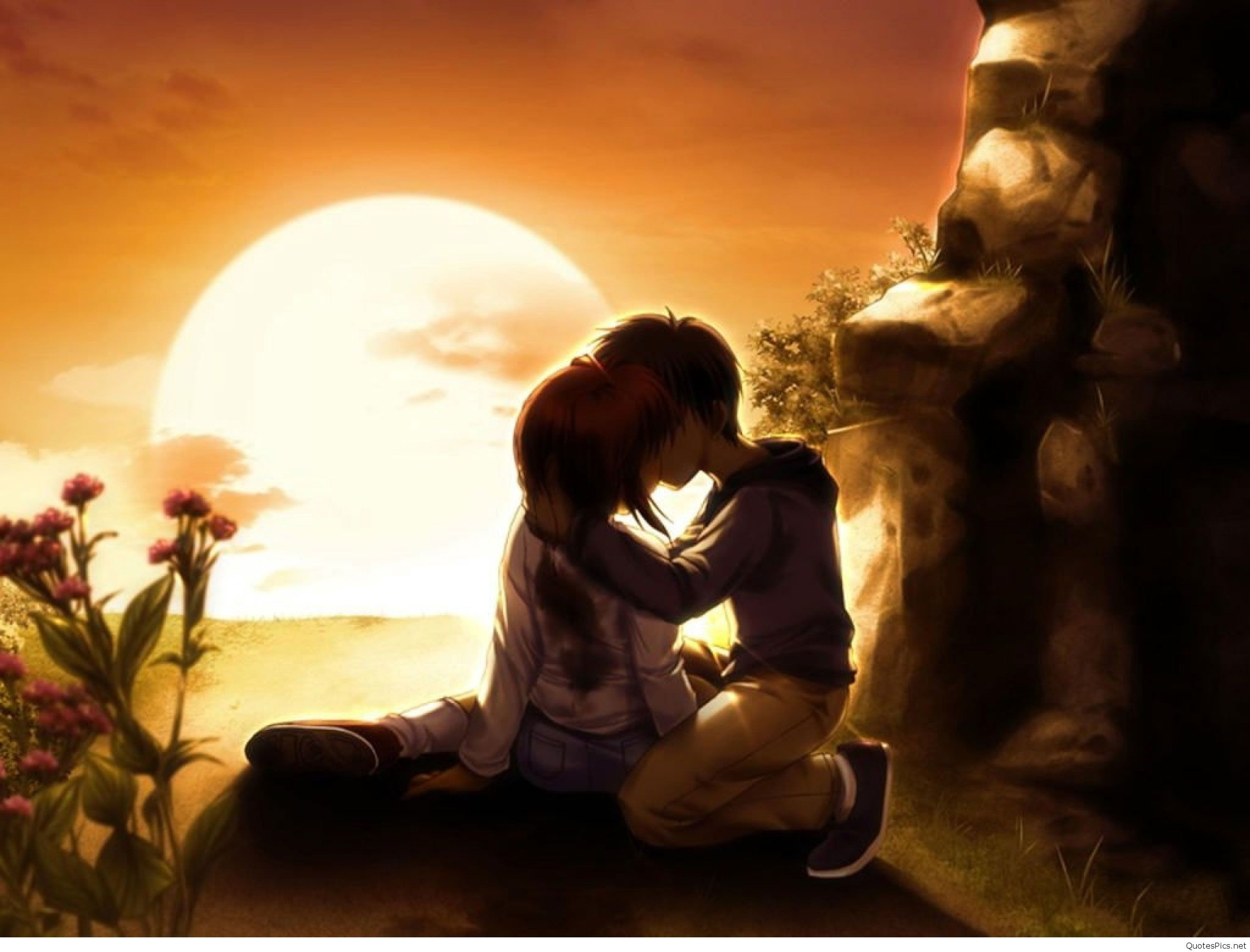 2560x1950 3d-love-couple-kiss-wallpaper