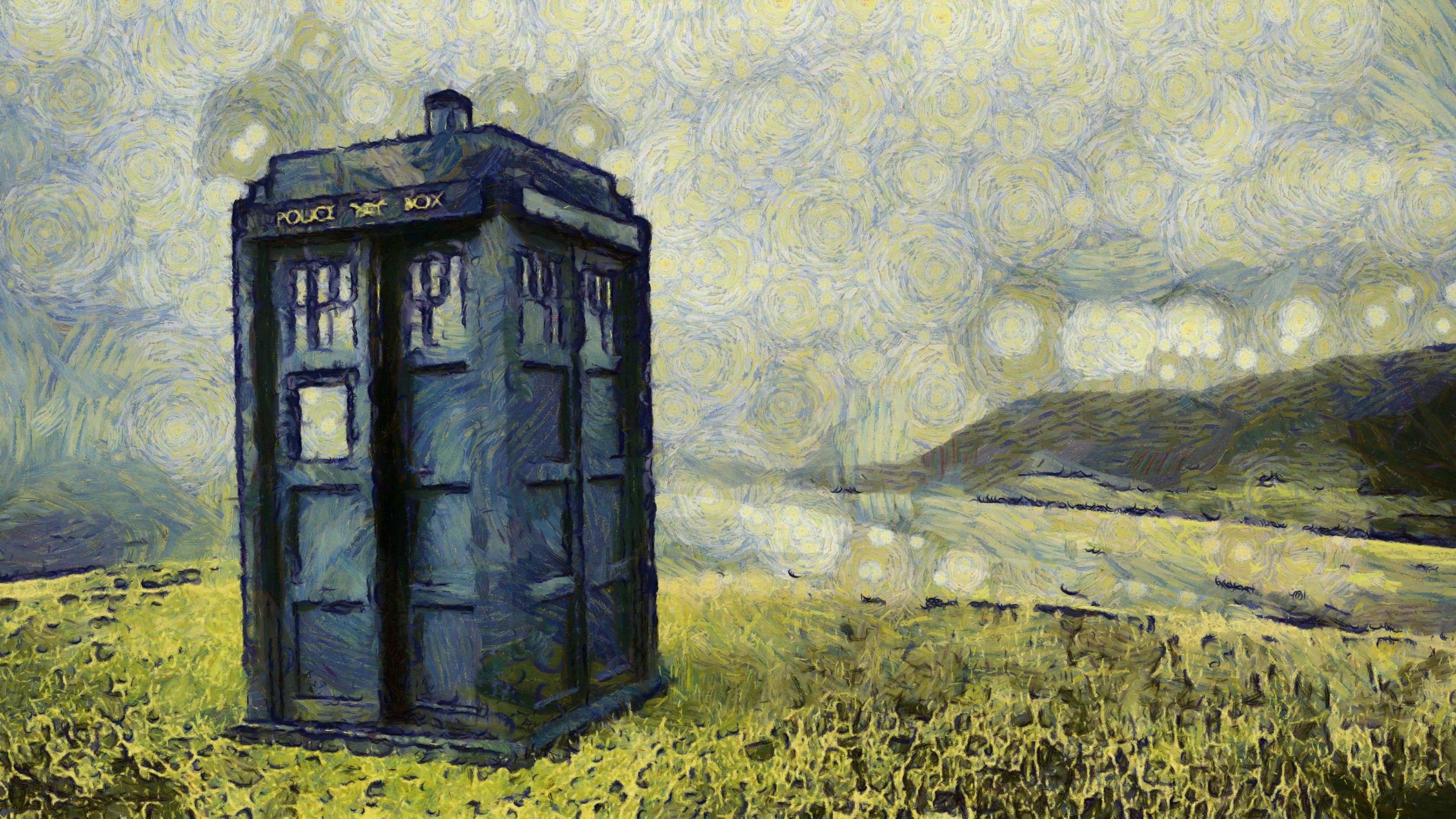 3360x1890 Tardis Doctor Who The Van Gogh Walldevil with regard to Android Wallpaper Van Gogh