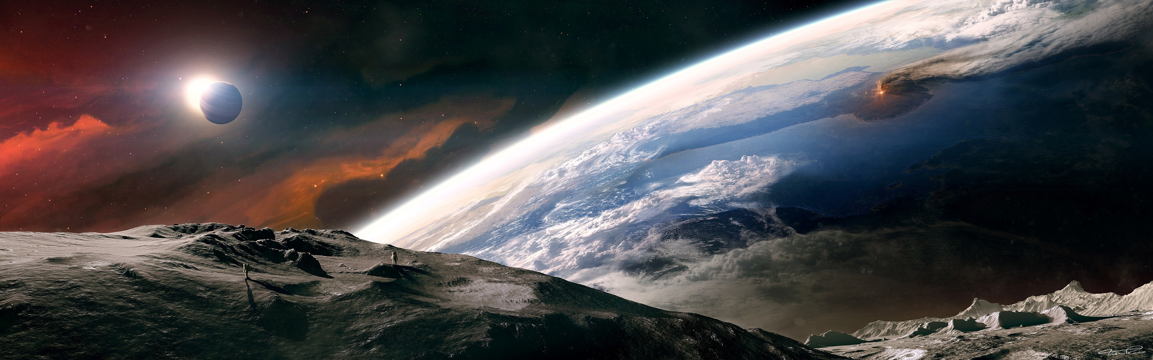 3840x1200 Outer space moon earth tranquility dual monitor wallpaper   3840x1200   9381   WallpaperUP