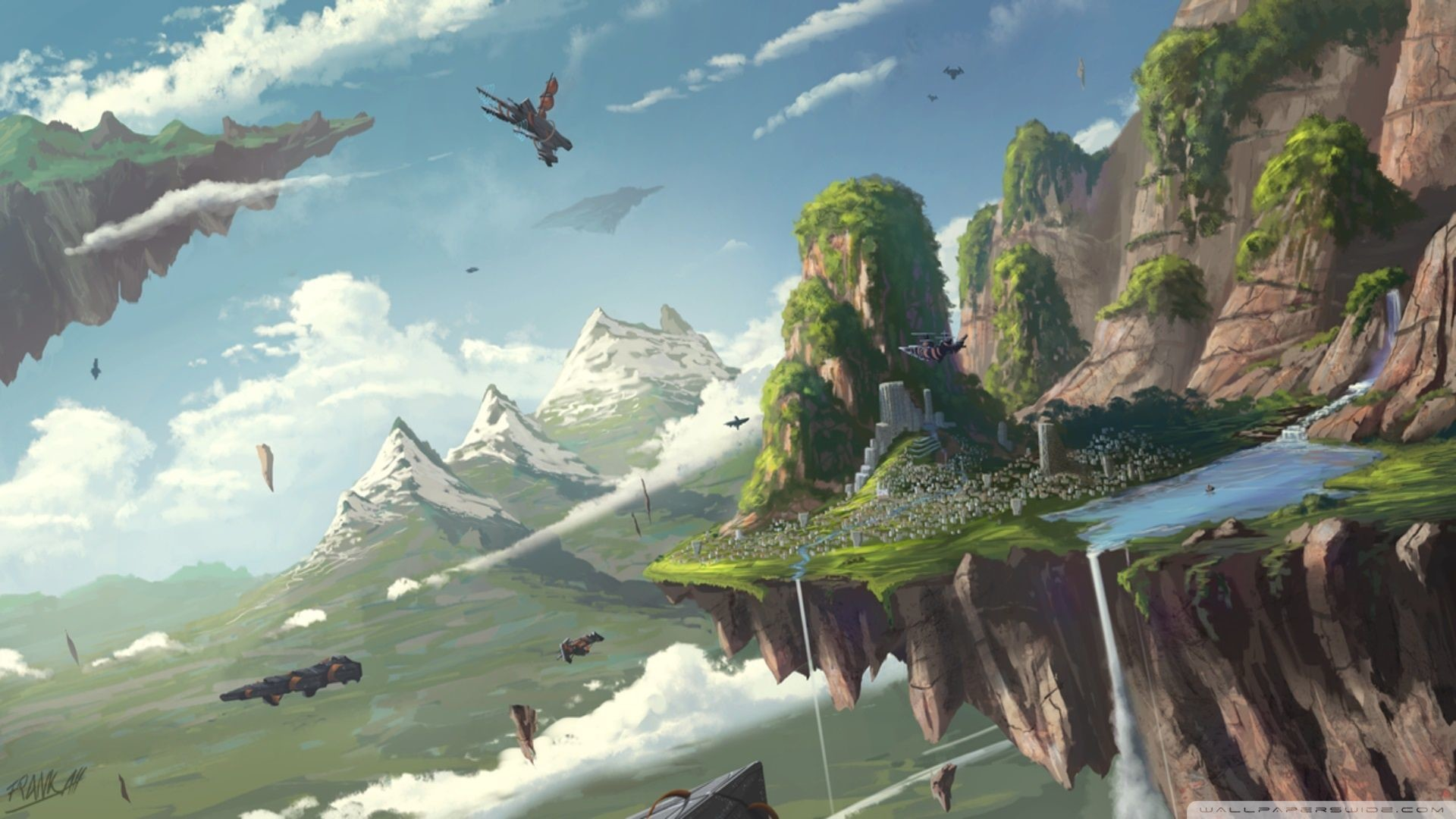 Floating Island Clouds Sky Fantasy World wallpaper creative and