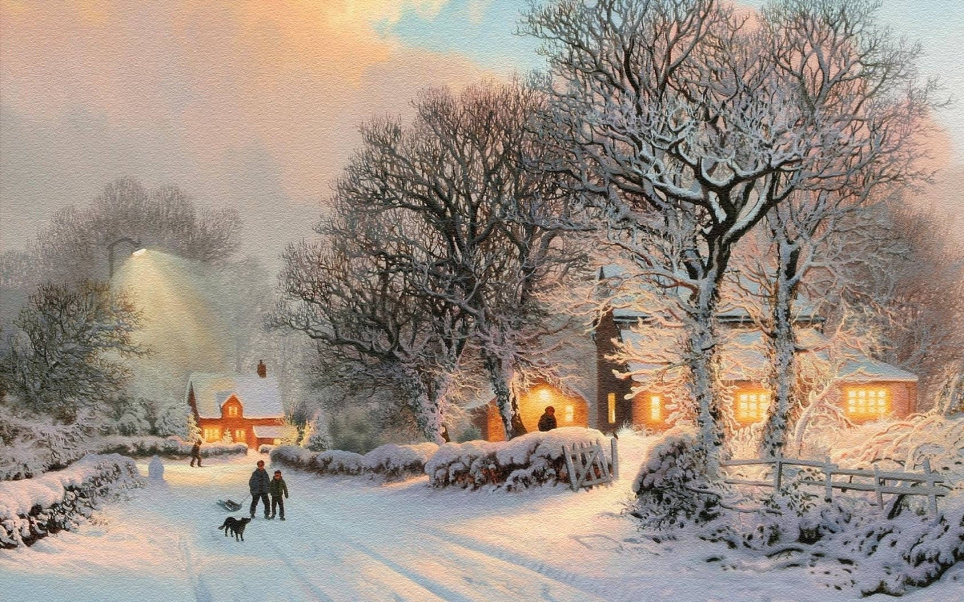 1920x1200 thomas kinkade christmas tree christmas painting hometow android wallpapers for free